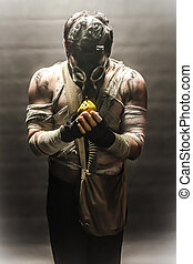 gas mask man with pear