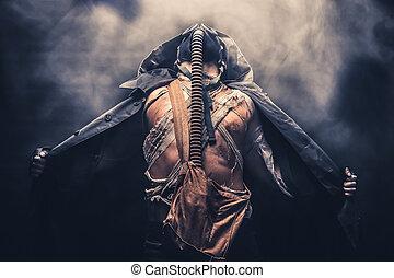 gas mask man with smoke