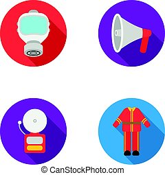 Gas mask, megaphone, siren, uniform. Fire department set collection icons in flat style vector symbol stock illustration web.