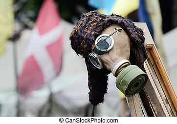 Gas mask - military item in rioters camp on Maidan Nezavisimosti