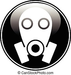 Gas mask symbol button on white background