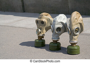 Gas mask - three military russian gas mask