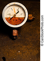 Gas meter against rusty background