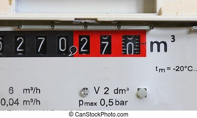 Gas Meter Turning - Gas meter in a home