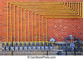 gas, meters, op, baksteen muur