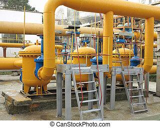 gas natural, estación, con, amarillo, tubos, central...