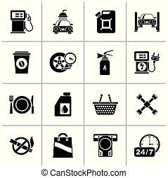 gas, nero, servizi, stazione, icone