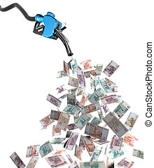 gas nozzle with ruble banknotes 3d illustration