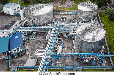 gas, och, olja, industriell, från, antennen beskådar