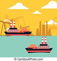 gas oil tanker ships transport chemical industry vector...