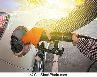 gas, påfyllning, kvinna, bil, station