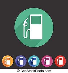 gas petrol fuel station icon flat web sign symbol logo label...