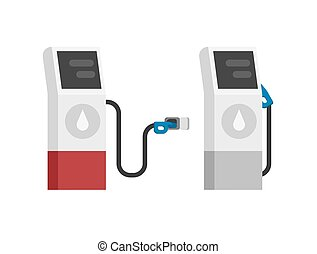 Gas petrol fuel station vector modern isolated flat cartoon illustration, gasoline auto refill oil pump gray red color clipart design