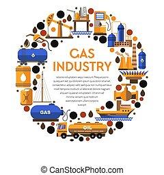 gas, pictogram, mijnbouw, industrie, fabriek, olie, ...