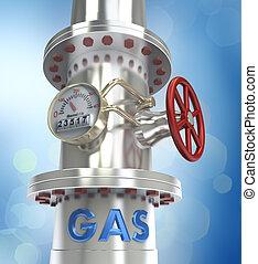 gas, pijpleiding, concept, -