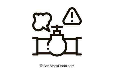 gas pipe break Icon Animation
