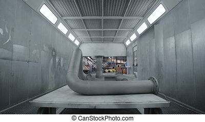 Gas Pipe Ready for Painting. Modern Workshop - Gas Pipe...