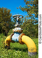 Gas pipe with a valve on a green lawn