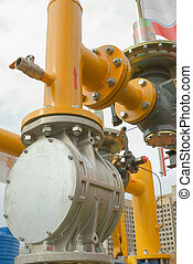 gas pipe - yellow gas pressure regulator with a crane and...