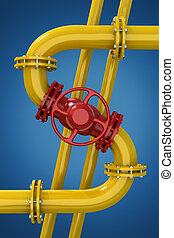 Gas pipeline - Dollar sign from gas pipeline on blue...
