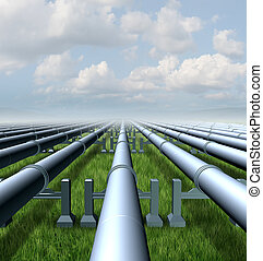Gas Pipeline - Gas pipeline concept as a group of three...