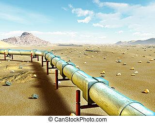 Gas pipeline - Modern gas pipeline running through a desert...