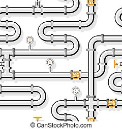 Gas pipeline realistic vector seamless pattern in flat style.