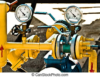 pipeline - gas- pipeline with manometers