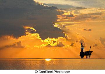 Gas platform or rig platform in sunset or sunrise time