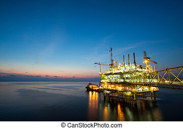 Gas platform or rig platform in sun