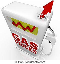gas, -, pompa, salita, freccia, prezzi, benzina