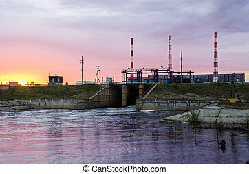 Gas power plant during sunset