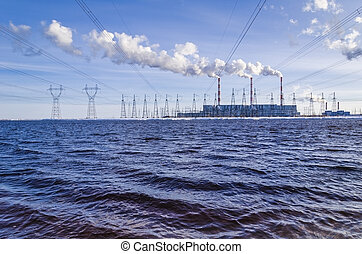 Gas power plant in sunny day