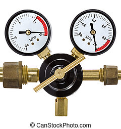 Gas pressure regulator with manometer, isolated on white...