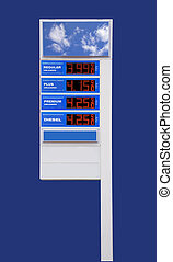 Gas price sign, isolated