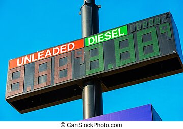 Gas Prices at Gas Station