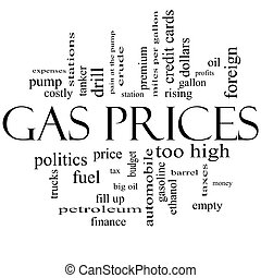 Gas Prices Word Cloud Concept in Black and White