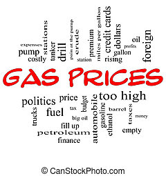Gas Prices Word Cloud Concept in Red Caps