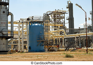 Gas Processing Plant. - Pipes and technological structure of...