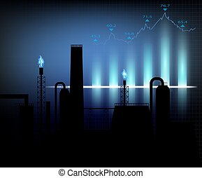 Gas production. Vector illustration of financial graph chart