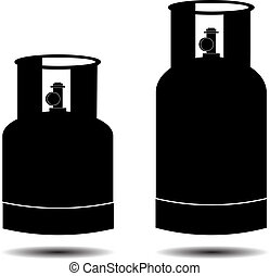 gas propane butane cylinders silhouette vector illustration