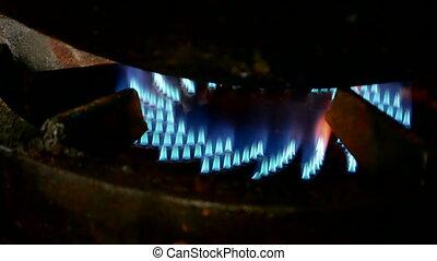 gas propane fire, gas-stove,kitchen - gas propane fire on...