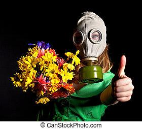 gas, pulgar, mujer, mask., arriba