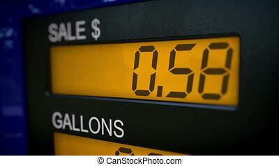 Gas pump display starting at 0 - Zoom in on gas pump display...