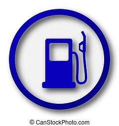 Gas pump icon. Blue internet button on white background.