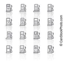 Gas pump icons eps 10.collection