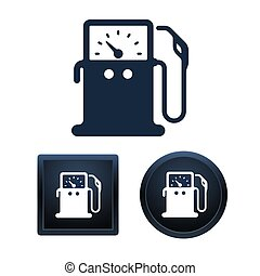 Gas pump icons, isolated vector illustrations