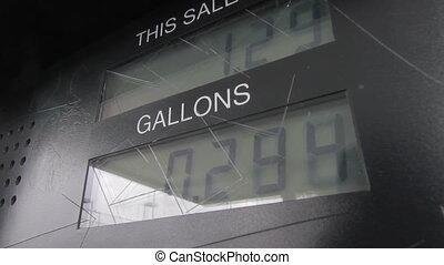 Gas Pump Meter - Digital gas meter running at $4.39/gallon,...