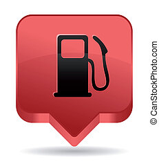 gas pump red icon for maps location