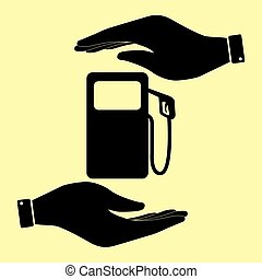 Save or protect symbol by hands. - Gas pump sign. Save or...